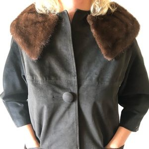 Vintage Claire Dratch Suede coat with mink collar